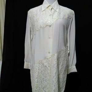 100% SILK Diane Gilman Top Blouse NWOT
